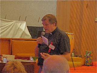 Fr. Helmut addresse a crowd of 300 in Portland, OR