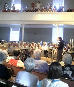 Fr. Helmut speaks to crowds in Dedham, Massachusetts