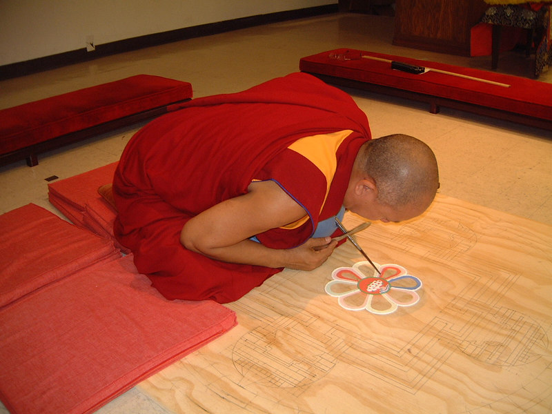 Thupten Tsondu started creating the compassion mandala on Tuesday. (taken by Simon Loh)
