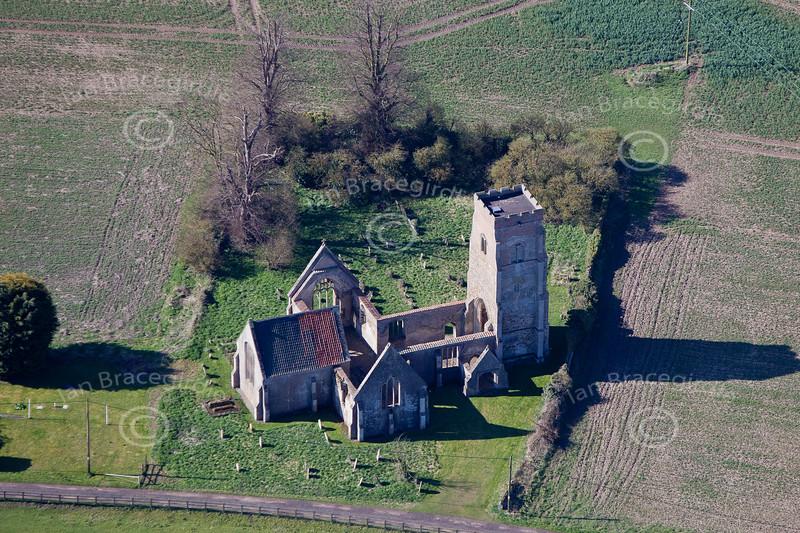 Aerial photo of Tilney cum Islington Church.