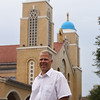Transfiguration Greek Orthodox Church in Lowell recently had their domes painted blue, after decades of them being unpainted. Church president Christian Zouzas of Chelmsford. (SUN/Julia Malakie)