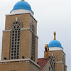 Transfiguration Greek Orthodox Church in Lowell recently had their domes painted blue, after decades of them being unpainted. (SUN/Julia Malakie)