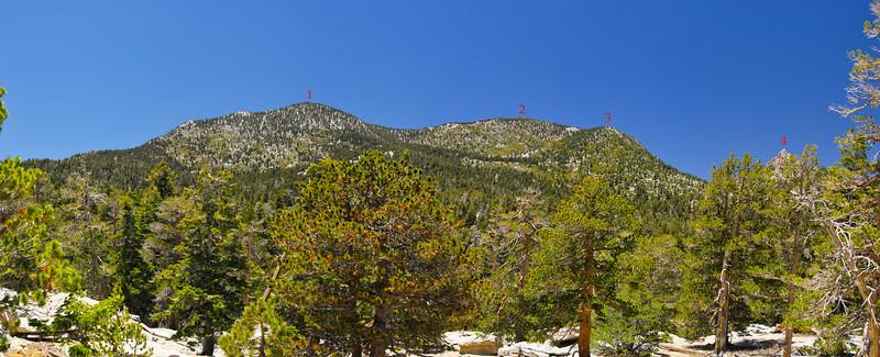 San Jacinto Wilderness - Peaks visible in this panorama (left to right) 1. Jean Peak : 2. San Jacinto Peak : 3. Miller Peak : 4. Cornell Peak