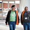 Joe Rodriguez (left), of Holy Family Parish in Fort Worth, and Marlon Barton (right), of St. Rita Parish in Fort Worth, walk to a session on October 27, 2012 at the Irving Convention Center. The Dioceses of Fort Worth and Dallas teamed up to host the sixth annual University of Dallas Ministry Conference. The conference featured a keynote address by Cardinal Roger Mahoney, workshops by ministry professionals from around the country, music, prayer and a closing Mass. (Juan Guajardo/ Special Contributor)