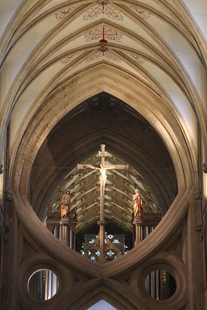 Crucifix in the crossing at Wells Cathedral.  20 October 2014