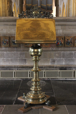 Lectern at the east end of Wells Cathedral.  20 October 2014