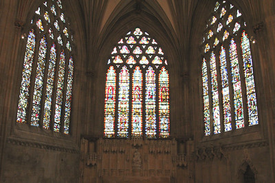 Three of the five panels of the east end windows at Wells Cathedral.  20 October 2014