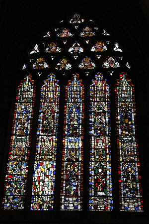 South east panel of the East End windows at Wells Cathedral.  20 October 2014