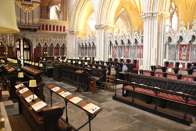Wells Cathedral choir stalls looking towards Cantoris.  20 October 2014