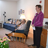 Sister Marla Gipson shows Sister Lou Ann Roof's apartment to visitors