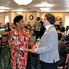 Sister Joyce Lehman visits with Trotwood Mayor Joyce Sutton Cameron in the dining hall