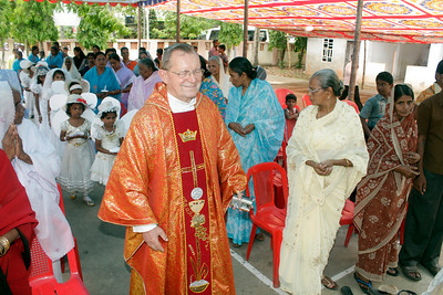 Fr. Martin, SCJ, the main celebrant, enters the chapel.