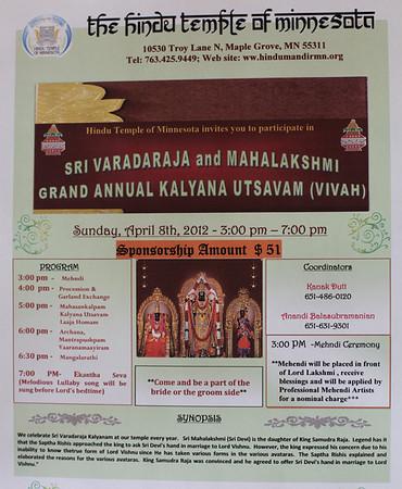 Sri Mahalakshmi Kalyana Utthsavam Sunday April 8, 2012 - Photos by Bala