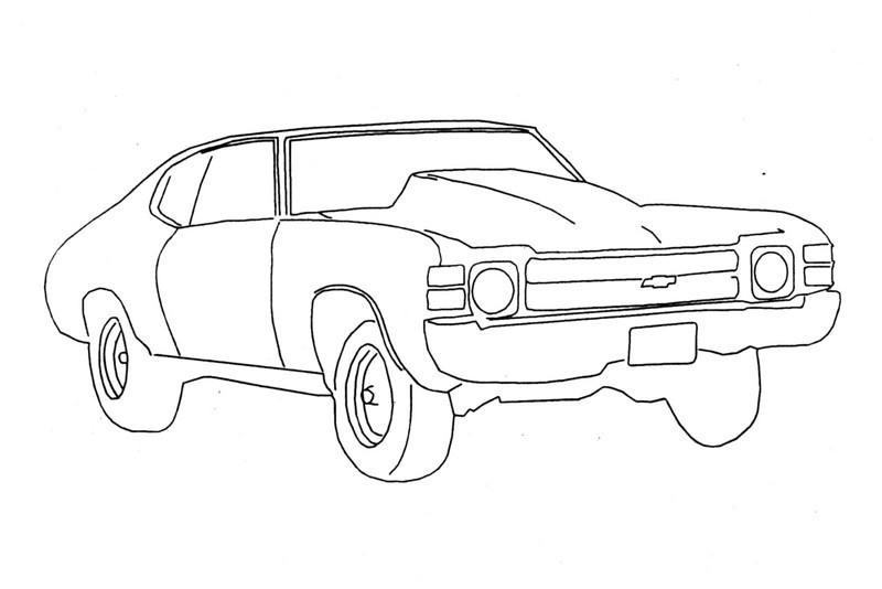 Original line art from race car photograph.