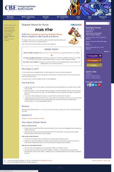 Shalach Manot Webpage 2015