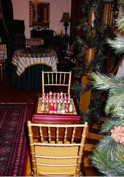 Even the chess board in the third-floor ballroom is Christmas-themed.