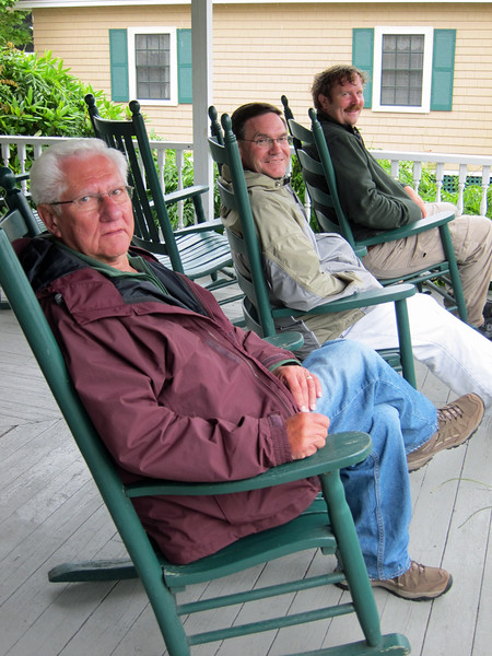 "Don, Paul Riewerts and Mark Rasmussen ""resting"" on the Maine Tour - August 2010"