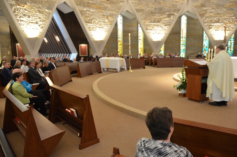 The chapel at Sacred Heart was filled for the funeral Mass