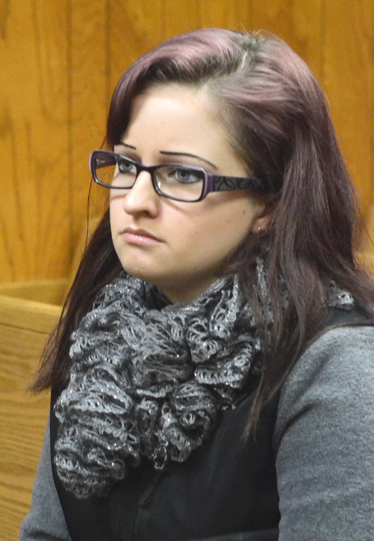 ". Amber Davis, grandaughter of Cliff Van Haywald, watches the arraingement of Ruth Pozdol in Judge Richard Kuhn\'s 51st District Courtroom in Waterford. Posdol is charge with carjacking and the death of Haywald.     Tuesday,  January 20th, 2015.  Later, at Pozdol\'s sentencing, Ms. Davis said: ""A person named Ruth decided her drug addiction was more important than anyone or anything, and in just one senseless act, January 18 became the worst day of my life. My papa had a love for his family and friends that no words can describe. He had a smile that could light up a room - with or without his teeth in. He was always willing to help people in any way he could.\""  Tim Thompson-The Oakland Press"