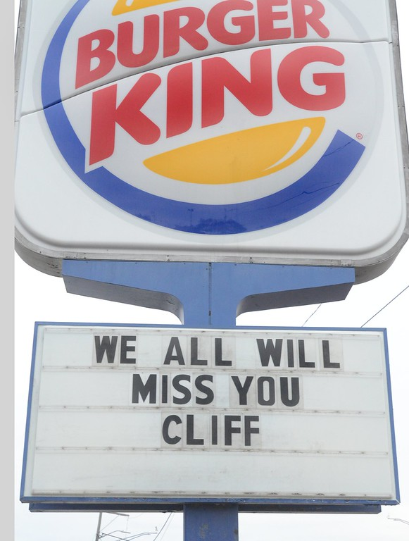 . Message of the sign at Burger King in Waterford  for Clifford Van Haywald.  Haywald was kill where it is believed that Ruth Pozdol  carjacked and the killed him Sunday.     Monday,  January 19th, 2015.    Tim Thompson-The Oakland Press