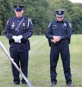 Officers during the invocation offered by Chaplain Kenneth Tanner. (Aileen Wingblad/Digital First Media)