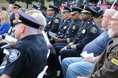 Police, firefighters, officials and family members of fallen officers attended the memorial ceremony on Sept. 11 at the Oakland County Complex. (Aileen Wingblad/Digital First Media)