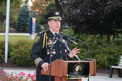Oakland County Sheriff Mike Bouchard spoke of the sacrifices of officers and firefighters, and said Michigan's fallen heroes will not be forgotten. (Aileen Wingblad/Digital First Media)