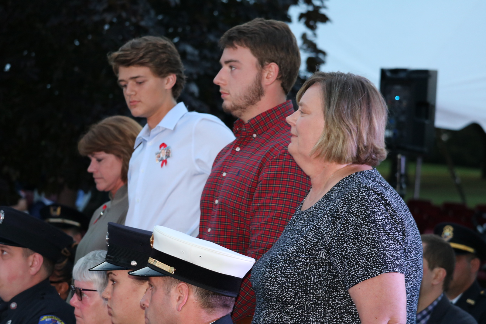 The family of television journalist Ron Savage, who died last year while on duty as a Milford firefighter. (Aileen Wingblad/Digital First Media)