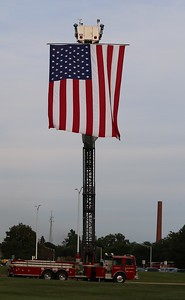The American flag displayed on high by the Waterford Regional Fire Department. (Aileen Wingblad/Digital First Media)