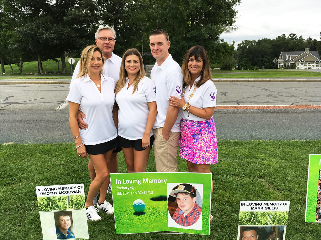 . From left, Sue Gasper Doherty of Lowell; Zack�s dad, Michael �Mickey� Gys of Lowell; Zack�s sister, Taylor Gys, of Billerica; Bobby Alongi of Billerica; and Zack�s mom, Louise Griffin of Lowell