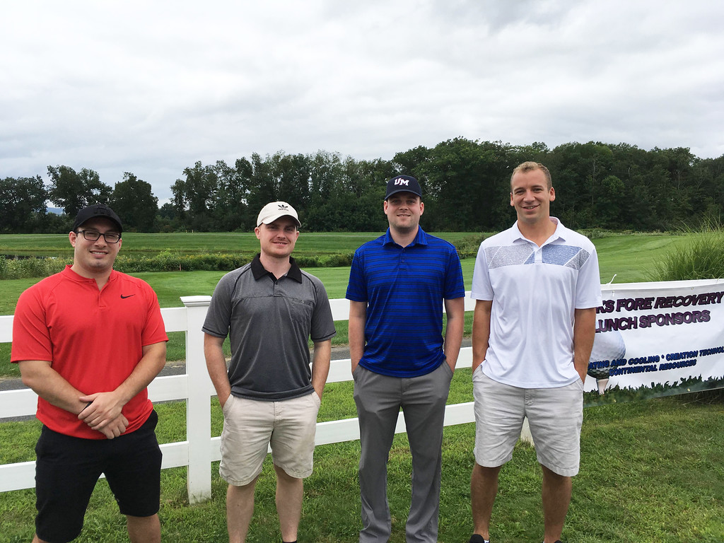 . From left, Sam Weitz and Shawn Bradley of Tewksbury, Mike O�Conner of Malden and Evan Cutelis of Tewksbury