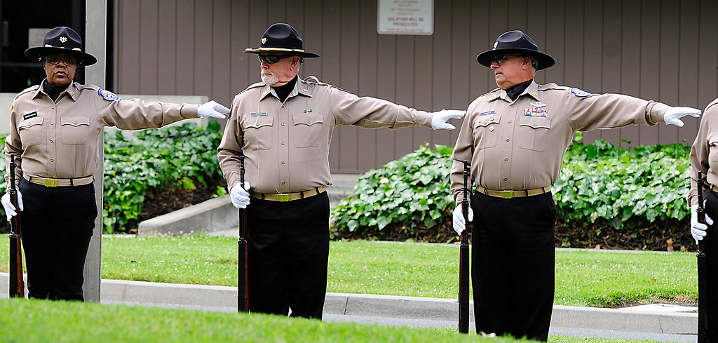 . FAIRFIELD, CA - MAY 16, Members of the Sacramento Valley National Cemetery Honor Guard space out during the 2018 Peace Officers\' Memorial Service on Wednesday in Fairfield. (Chris Riley/Times-Herald)