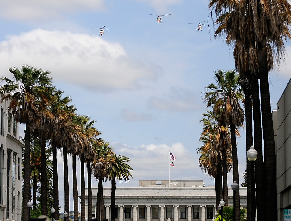 . FAIRFIELD, CA - MAY 16, California Highway Patrol helicopters fly over the old courthouse and the 2018 Peace Officers\' Memorial Service on Wednesday in Fairfield. (Chris Riley/Times-Herald)