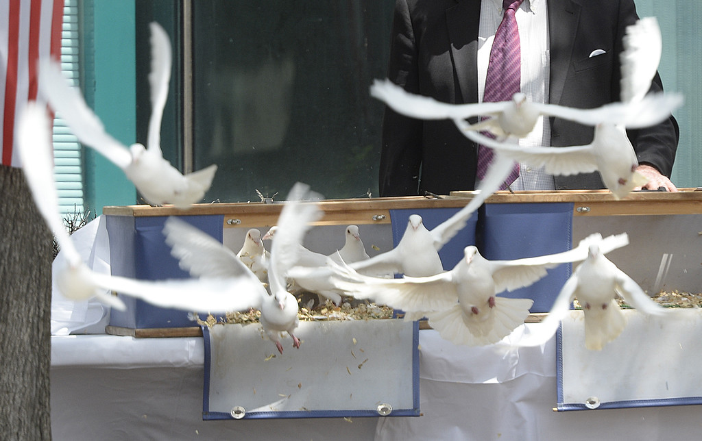 . Doves are released after all the names of the fallen law enforcement officers were recited during the 2018 Peace Officer\'s Memorial Wednesday in Fairfield. Joel Rosenbaum -- The Reporter