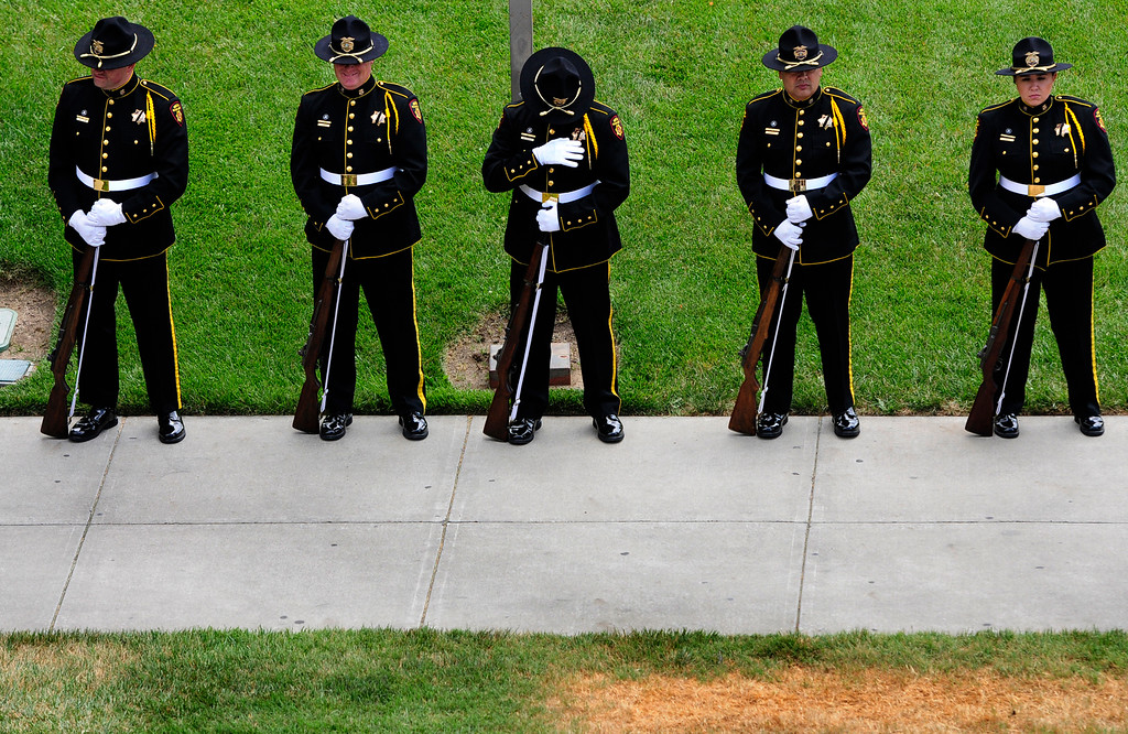 . FAIRFIELD, CA - MAY 16, Solano County Sheriff stand in rest during the 2018 Peace Officers\' Memorial Service on Wednesday in Fairfield. (Chris Riley/Times-Herald)