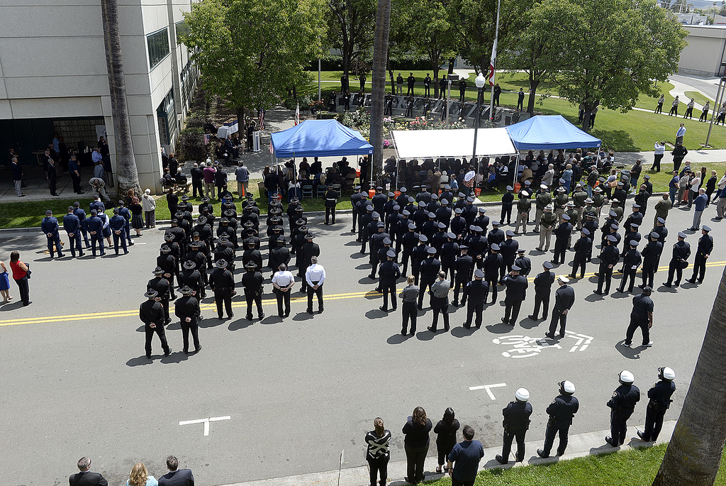 . Law Enforcement personnel from around Solano County line Union St. in Fairfield to pay their respects to the 19 fallen peace officers who were killed in the line of duty on Solano County during the 2018 Peace Officer\'s Memorial. Joel Rosenbaum -- The Reporter