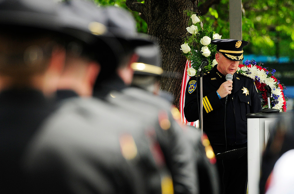 . FAIRFIELD, CA - MAY 16, Benicia Chief of Police, Erik Upson, delivers the keynote address during the 2018 Peace Officers\' Memorial Service on Wednesday in Fairfield. (Chris Riley/Times-Herald)