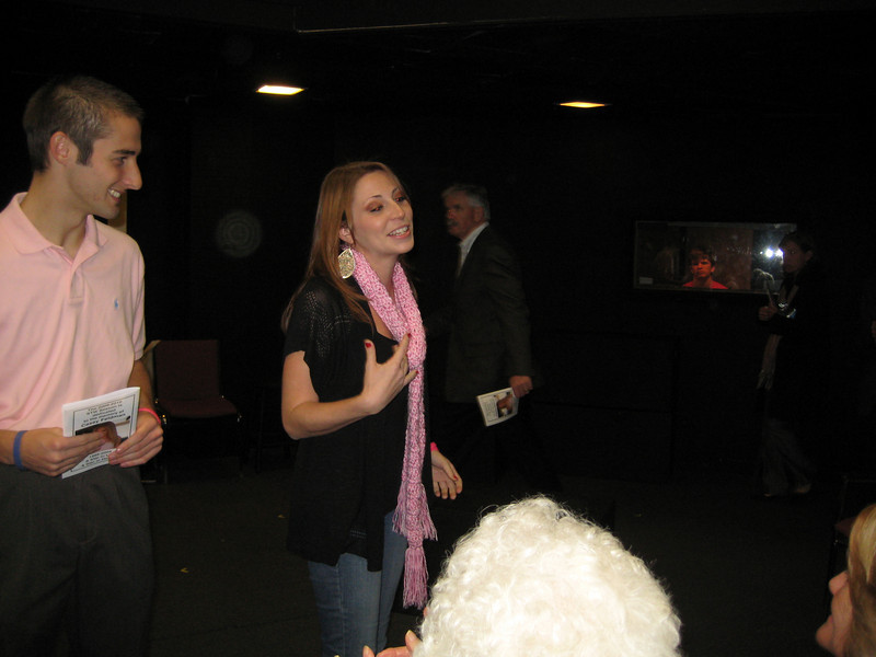 Mingling at the reception before the dedication and show. Matt Thornton and Melissa Zirolli.