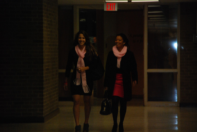 Janine Repka and Kelsey Butler arriving at the high school after a long  and tiring rush hour drive from NYC!