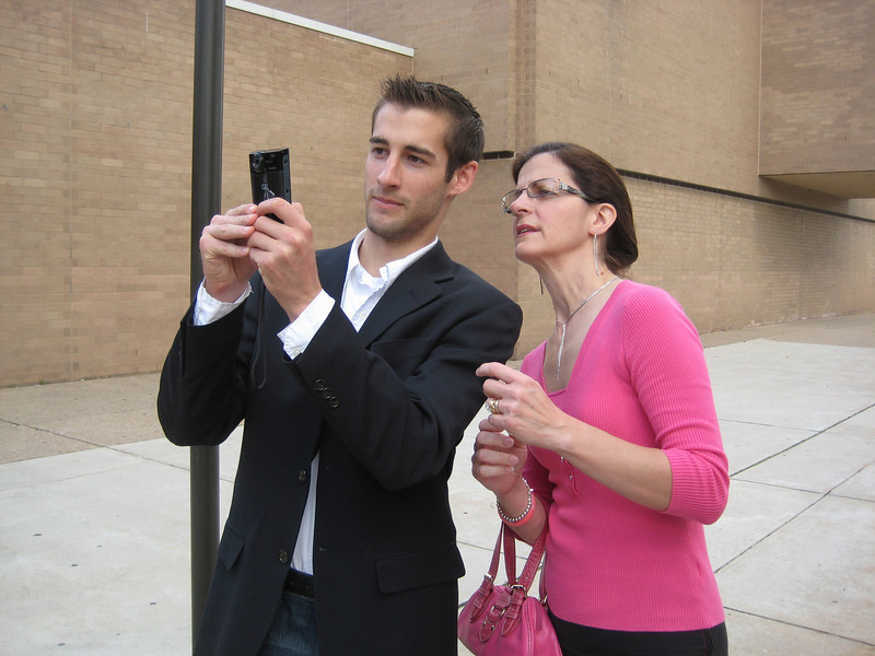 Matt Thornton showing his mom, Betty how to use the video camera!