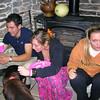 Phil Knasiak, Kasey Borbidge and Kasey's sister in the  Feldman kitchen after the gala.Luna is the Feldman's new dog.