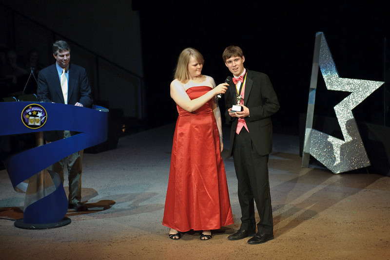 Sean Skahill accepts the 2010 Cappies award for Best Supporting Actor for his role in The Laramie Project..
