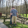 A bit early for the airport, so we stopped at a nearby park. Joel gives Brett a kiss.