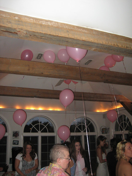 Pink balloons. Getting ready to go outside.