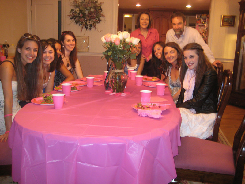 Left: Casey's Fordham roommates - Janine Repka, Cassie Foote, Kelsey Butler and Christina Halligan<br /> Behind: Mr and Mrs. Feldman<br /> Right: Amber Staska, Kaitlyn Carullo, Rachael Kemmey and Jackie Cahill