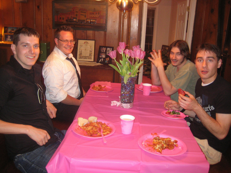 The men were outnumbered and apparently found it preferable to start a mens' only table? Mrs. Feldman joined them to reduce the testosterone levels in the room!