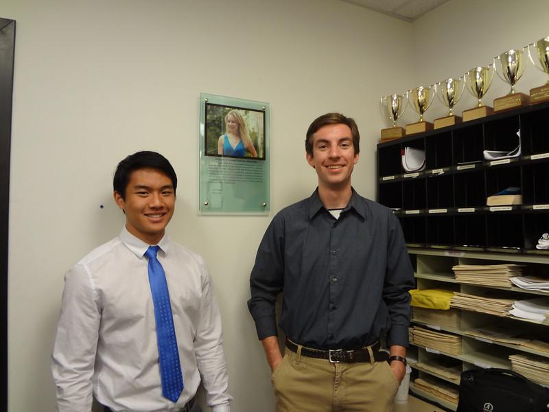 Jasper Chang (L) and Harry Huggins, recipients of Casey Feldman Foundation Observer scholarships
