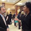 Joel Feldman speaks to Monique John at the dinner. Monique John was recognized  for her receipt of a Casey Feldman Foundation internship scholarship.