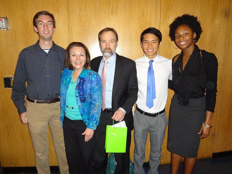 Harry Huggins (L), Dianne Anderson (Casey's mom), Joel Feldman (Casey's father), Jasper Chang and Monique John. The three students were recipients of a Casey Feldman Foundation scholarship.