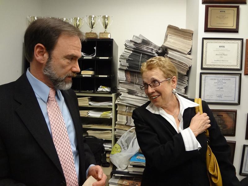 Joel Feldman (Casey's father) and Dr, Elizabeth Stone, faculty advisor to The Observer